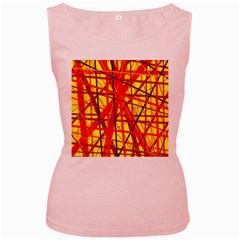 Yellow and orange pattern Women s Pink Tank Top