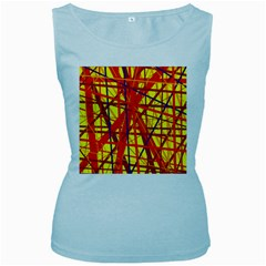 Yellow and orange pattern Women s Baby Blue Tank Top