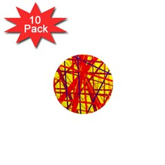Yellow and orange pattern 1  Mini Magnet (10 pack)