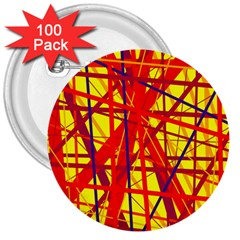 Yellow and orange pattern 3  Buttons (100 pack)