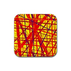 Yellow and orange pattern Rubber Coaster (Square)