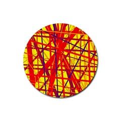 Yellow and orange pattern Rubber Coaster (Round)