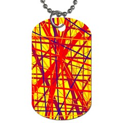 Yellow and orange pattern Dog Tag (One Side)