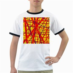 Yellow and orange pattern Ringer T-Shirts