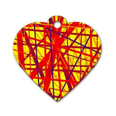 Yellow and orange pattern Dog Tag Heart (One Side)