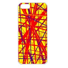 Yellow and orange pattern Apple iPhone 5 Seamless Case (White)