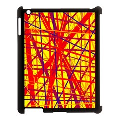 Yellow and orange pattern Apple iPad 3/4 Case (Black)