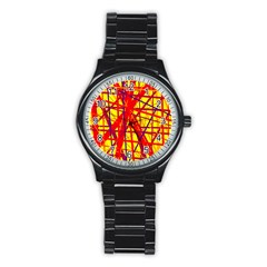 Yellow and orange pattern Stainless Steel Round Watch