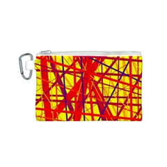 Yellow and orange pattern Canvas Cosmetic Bag (S)