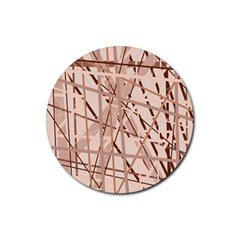Brown pattern Rubber Round Coaster (4 pack)