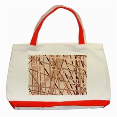 Brown pattern Classic Tote Bag (Red)
