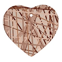 Brown pattern Heart Ornament (2 Sides)
