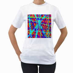 Colorful pattern Women s T-Shirt (White) (Two Sided)