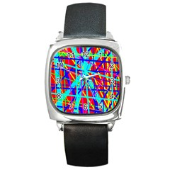 Colorful pattern Square Metal Watch