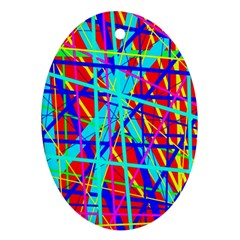 Colorful pattern Oval Ornament (Two Sides)