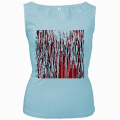 Red, black and white pattern Women s Baby Blue Tank Top
