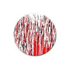 Red, black and white pattern Magnet 3  (Round)