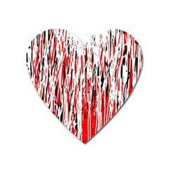 Red, black and white pattern Heart Magnet