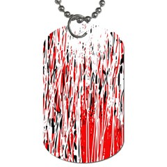 Red, black and white pattern Dog Tag (One Side)