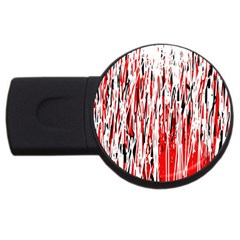 Red, black and white pattern USB Flash Drive Round (1 GB)