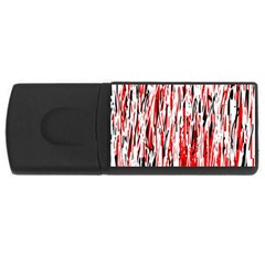 Red, black and white pattern USB Flash Drive Rectangular (2 GB)