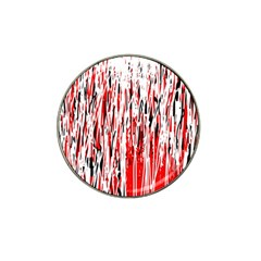 Red, black and white pattern Hat Clip Ball Marker (4 pack)