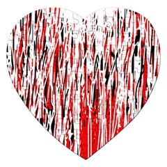 Red, black and white pattern Jigsaw Puzzle (Heart)