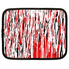 Red, black and white pattern Netbook Case (Large)