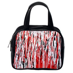 Red, black and white pattern Classic Handbags (One Side)