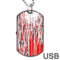 Red, black and white pattern Dog Tag USB Flash (One Side)