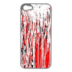 Red, black and white pattern Apple iPhone 5 Case (Silver)