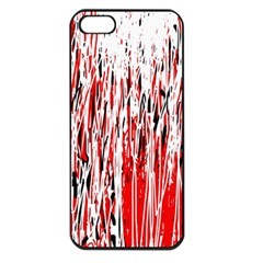 Red, black and white pattern Apple iPhone 5 Seamless Case (Black)