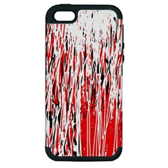 Red, black and white pattern Apple iPhone 5 Hardshell Case (PC+Silicone)