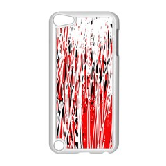 Red, black and white pattern Apple iPod Touch 5 Case (White)