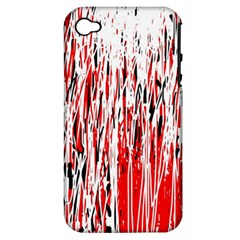 Red, black and white pattern Apple iPhone 4/4S Hardshell Case (PC+Silicone)