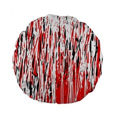 Red, black and white pattern Standard 15  Premium Round Cushions