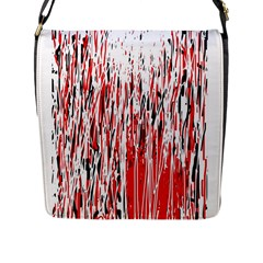 Red, black and white pattern Flap Messenger Bag (L)