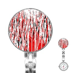 Red, black and white pattern Stainless Steel Nurses Watch