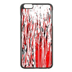 Red, black and white pattern Apple iPhone 6 Plus/6S Plus Black Enamel Case