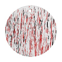 Red, black and white pattern Ornament (Round)