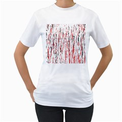 Red, black and white pattern Women s T-Shirt (White) (Two Sided)