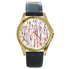 Red, black and white pattern Round Gold Metal Watch