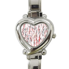 Red, black and white pattern Heart Italian Charm Watch