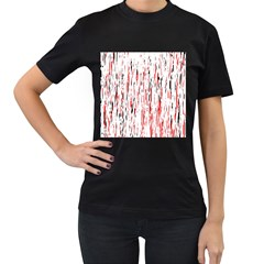 Red, black and white pattern Women s T-Shirt (Black) (Two Sided)