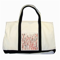 Red, black and white pattern Two Tone Tote Bag