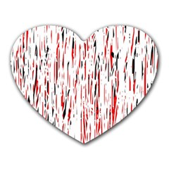Red, black and white pattern Heart Mousepads