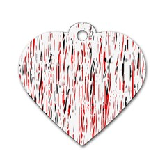 Red, black and white pattern Dog Tag Heart (Two Sides)