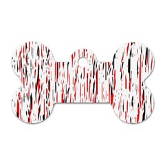 Red, black and white pattern Dog Tag Bone (One Side)
