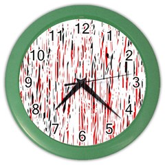 Red, black and white pattern Color Wall Clocks