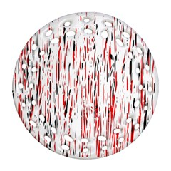 Red, black and white pattern Round Filigree Ornament (2Side)